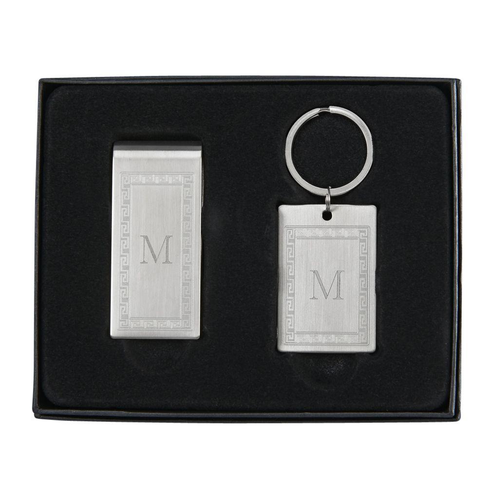 Greek Key Money Clip and Key Chain Gift Set