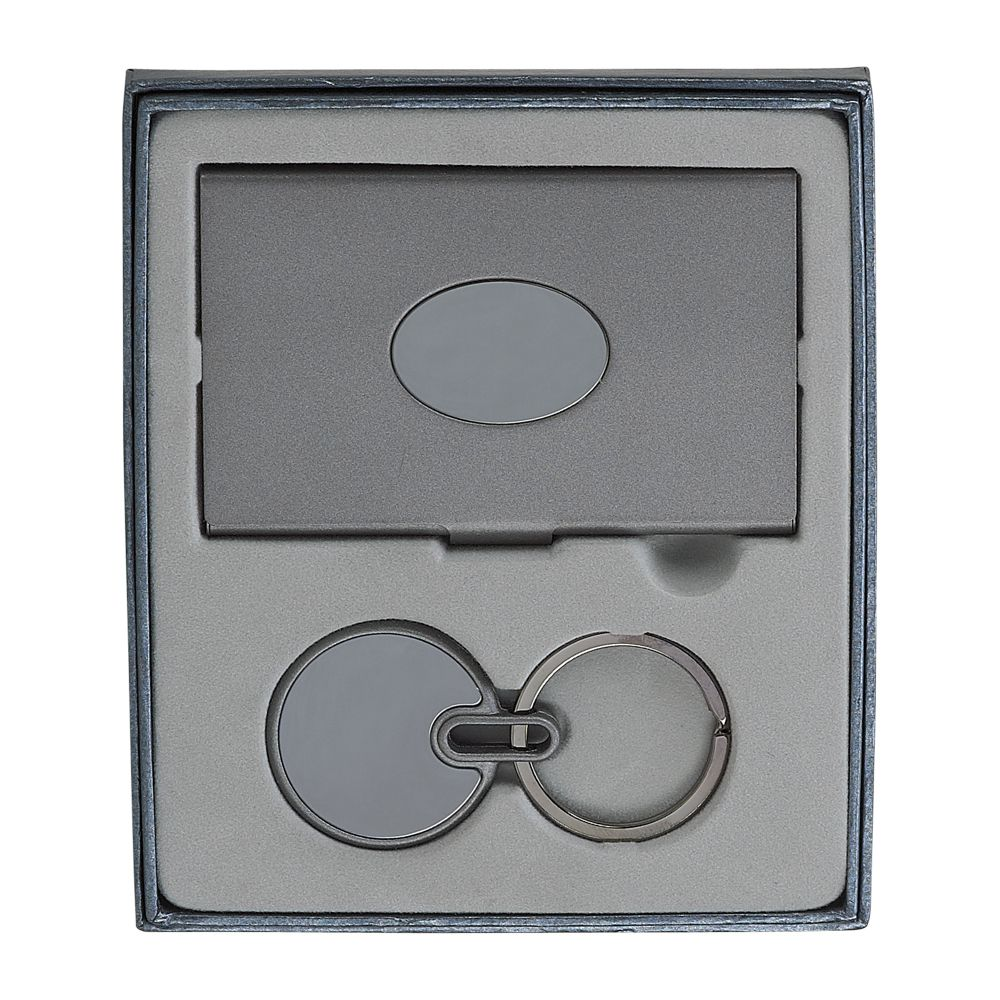 Business Card Case and Round Key Chain Gift Set