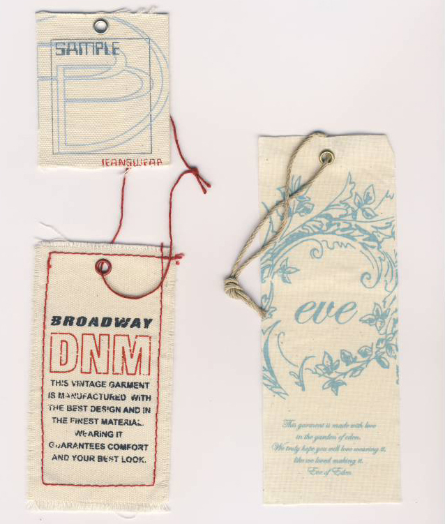 Custom Printed Cloth Hangtags with Grommets