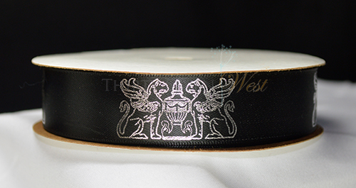 Melrose Georgetown Hotel Remington Custom Log ribbon Printed with Corporte logo Metallic Silver print on black Ribbon