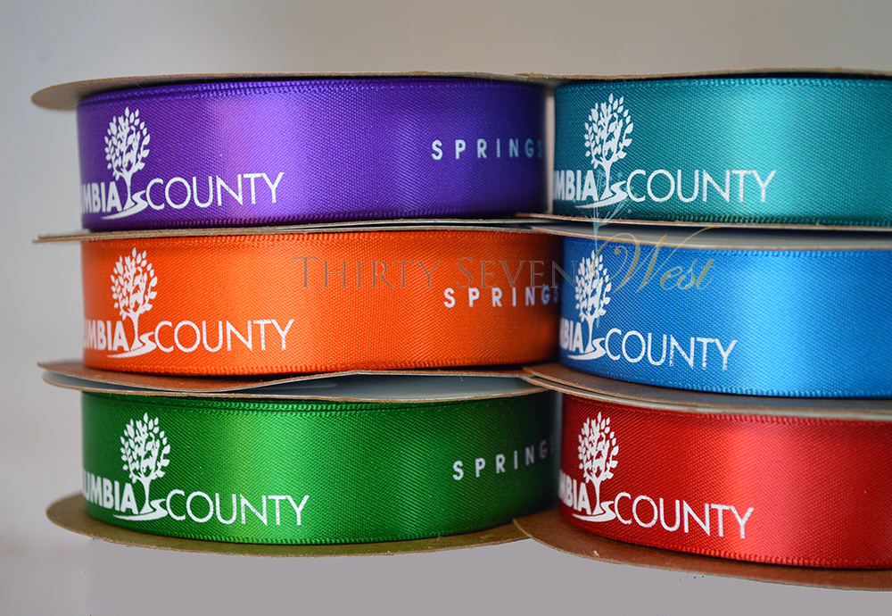 Custom Logo Ribbon Colored Ribbon Stacks for Trade Shows and Events