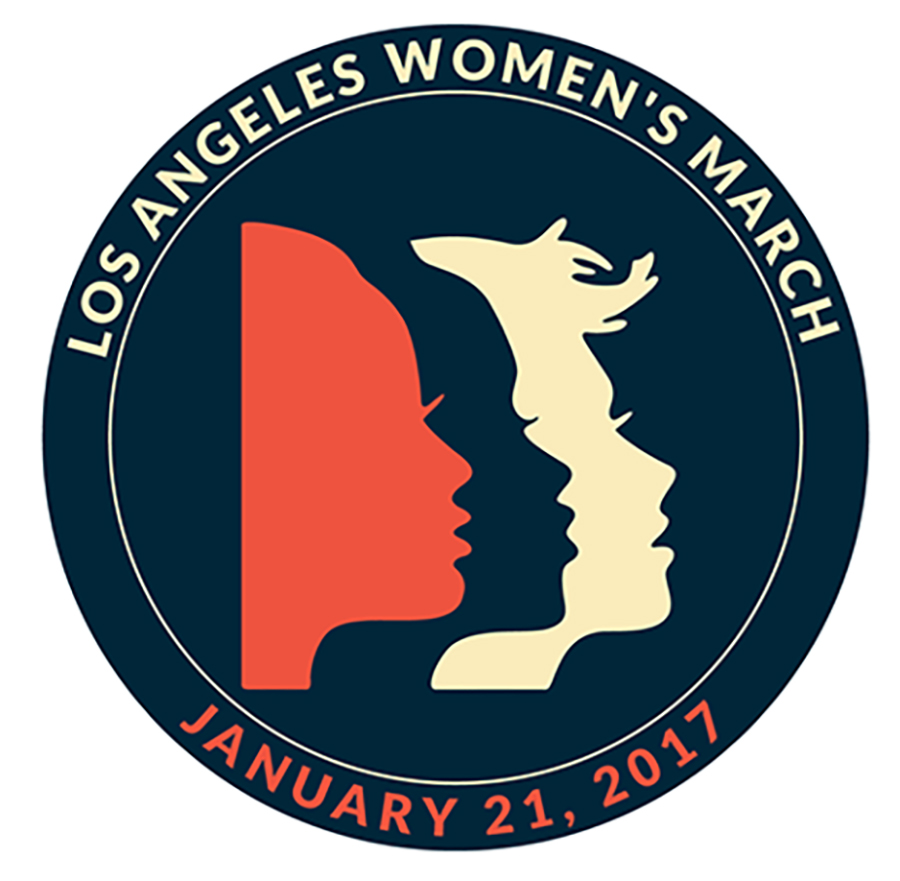 Women's March Los Angeles California 2017 Round Patch with Faces