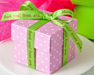 "Green 3/8"" Personalized Printed Satin Ribbon for Gifts"
