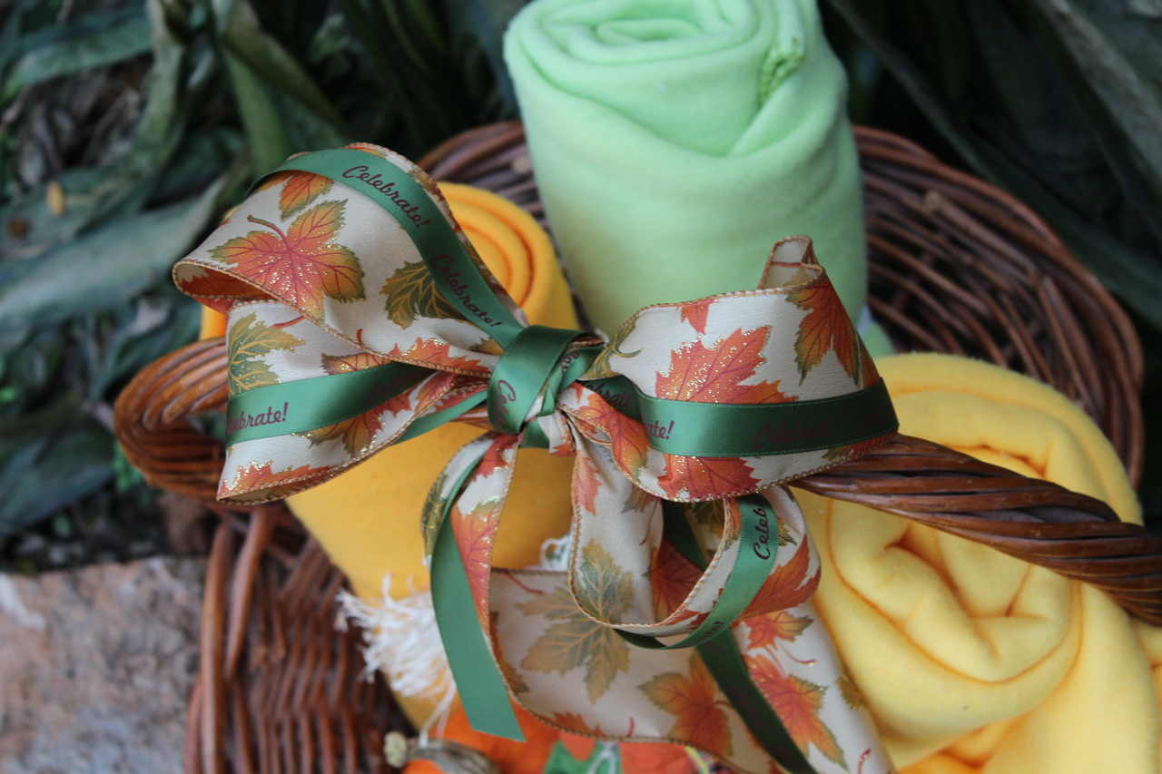 Satin ribbon personalized with message for unique gift basket