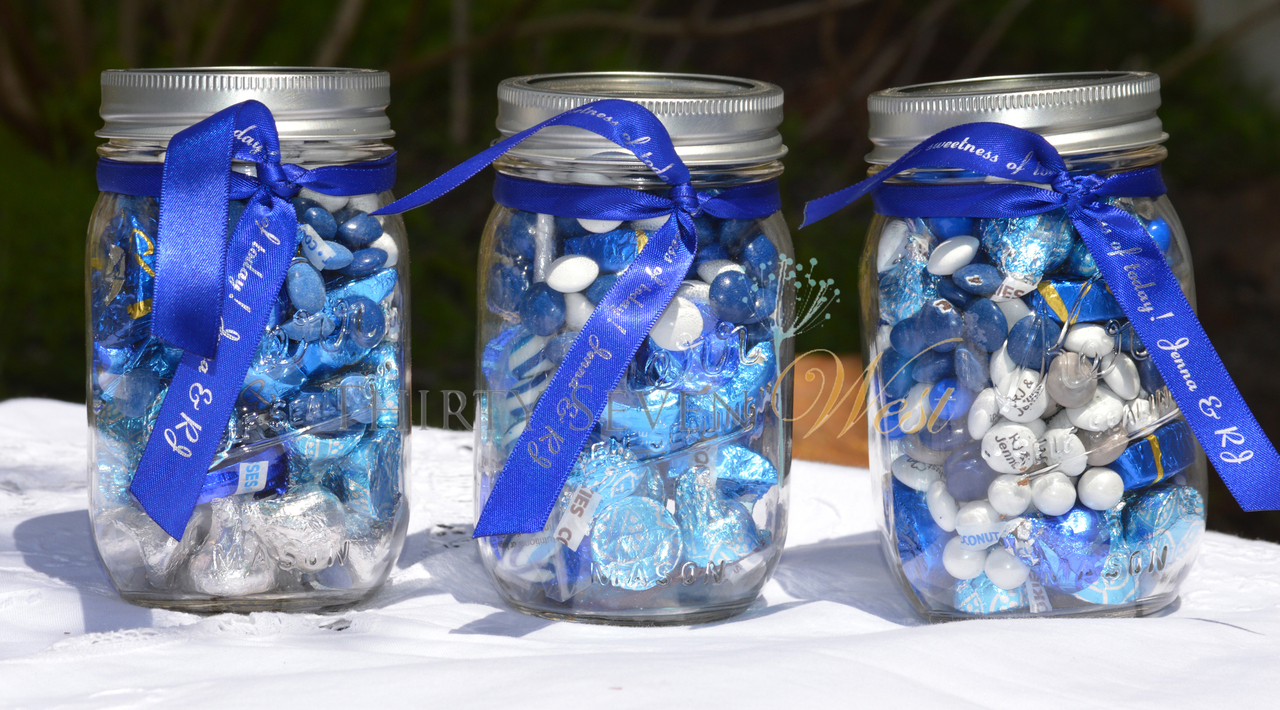 Blue Custom Satin Ribbon on mason jars