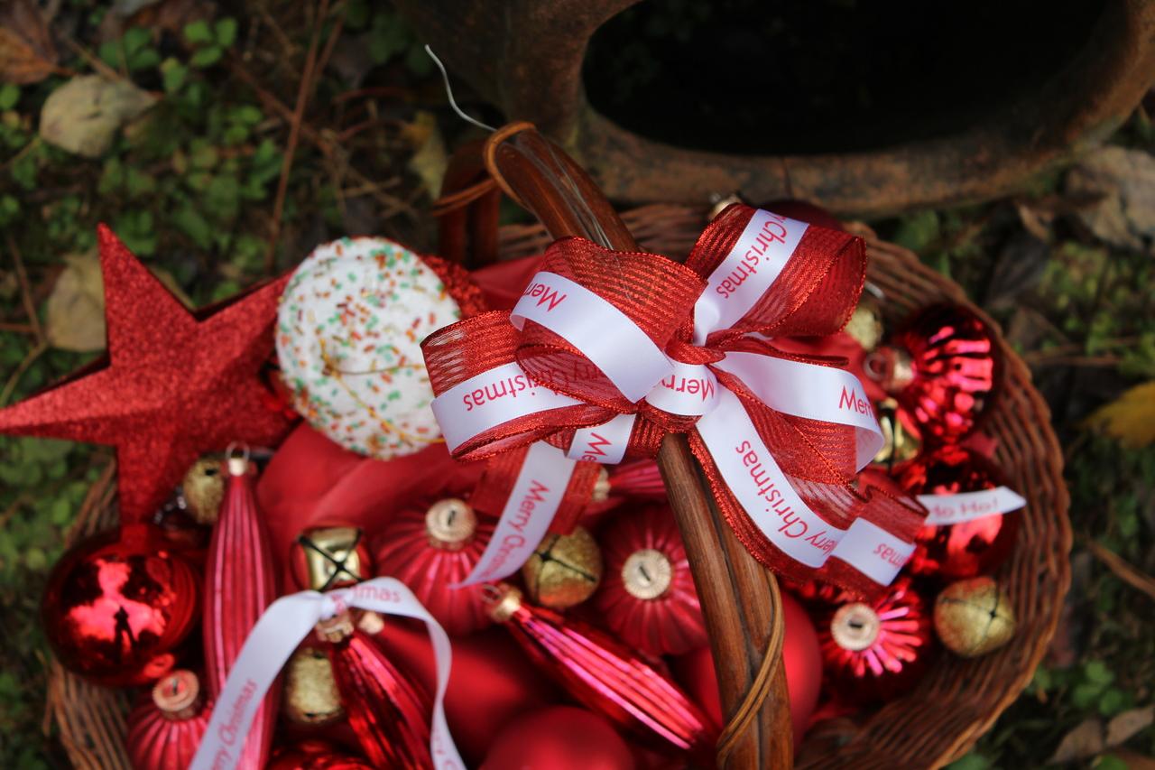 Personalized printed satin ribbon to embelish holiday gift baskets