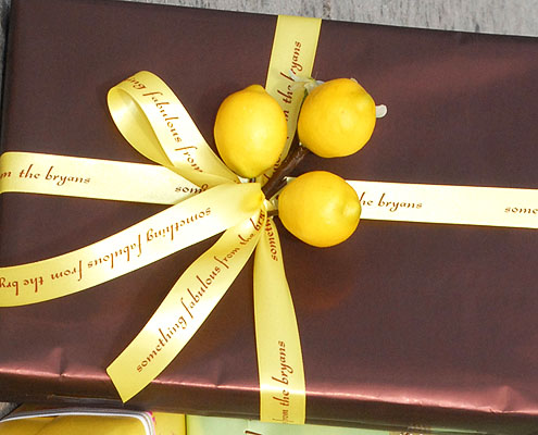 """Yellow 7/8"""" Personalized Printed Ribbon for Gift Wrap"""