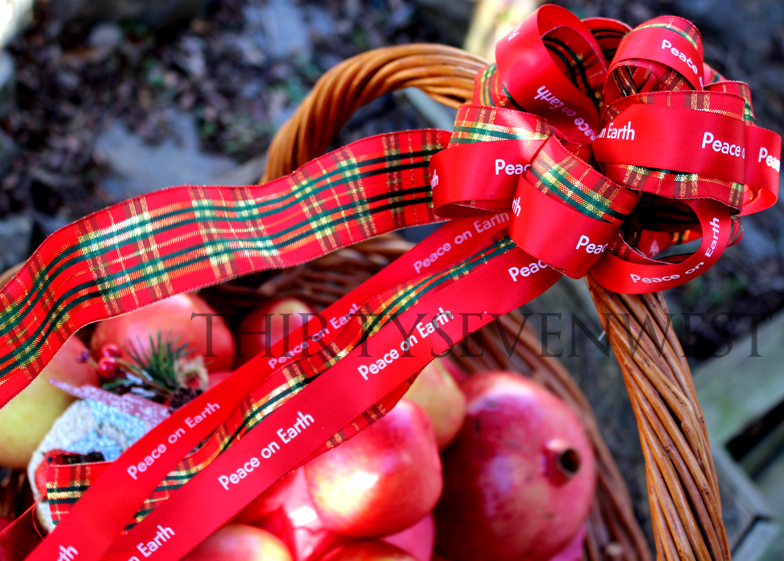 Personalized Christmas Gift Basket with Custom printed ribbon
