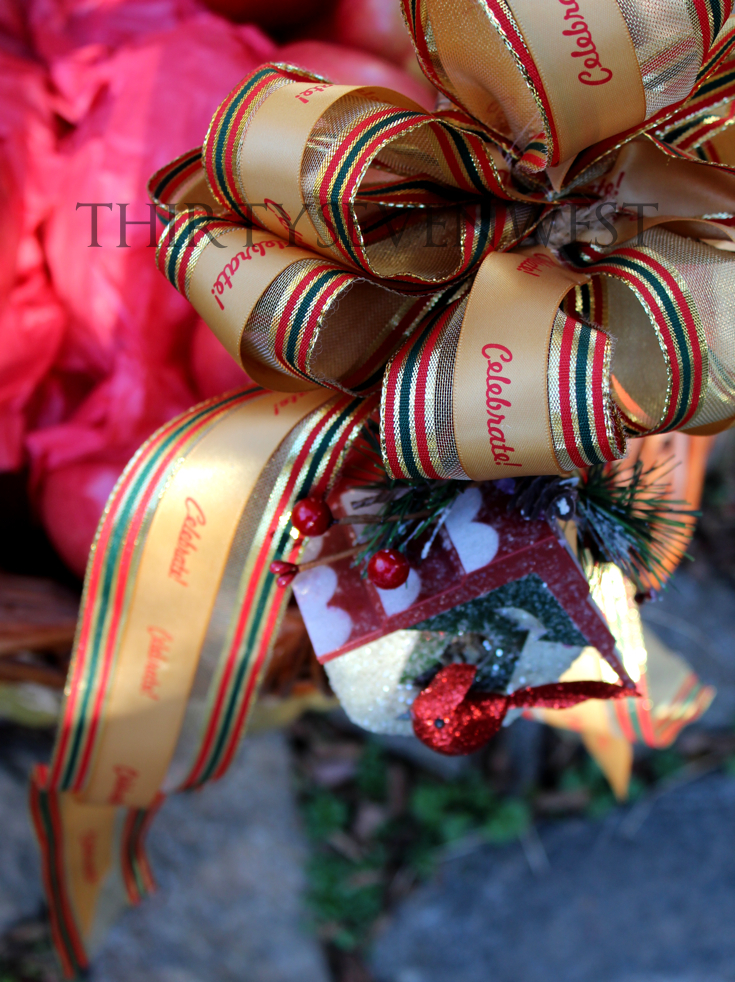 Christmas Gift Basket with personalized printed ribbon