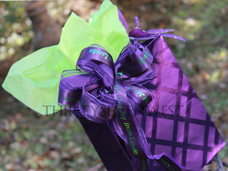 Holiday gift wrap ideas with personalized printed ribbon