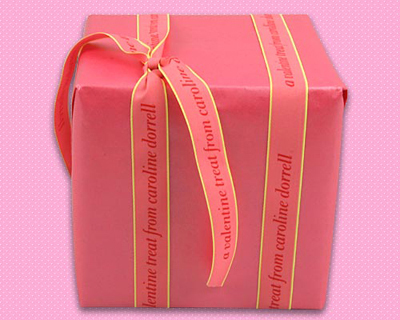 "Personalized Printed 7/8"" Pink Neon Edge Gift Wrap Ribbon"
