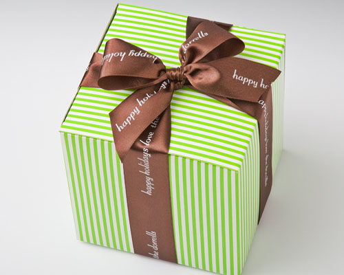 """Personalized 1 1/2"""" Brown Satin Ribbon for Gifts"""