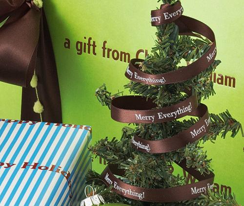 "Personalized 3/8"" Satin Christmas Ribbon"