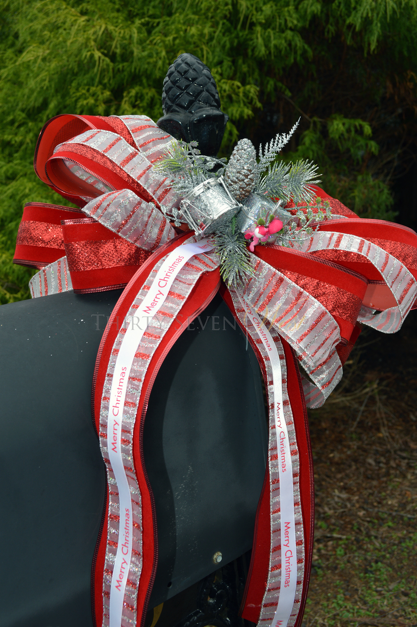 "Personalized 5/8"" Satin Christmas Ribbon on Mailbox"