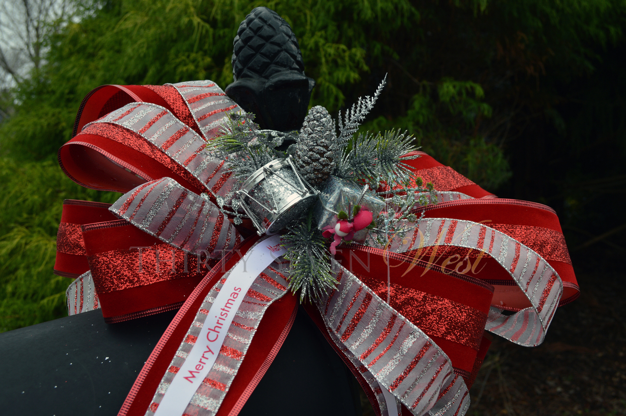 "Personalized 5/8"" Satin Christmas Ribbon on Mailbox for decoration"
