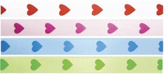 """3/8"""" Satin Heart Ribbon Colors"""