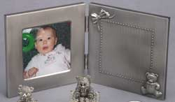 Personalized Brushed Hinged Baby Photo Frame accented with Teddy Bear and Bow