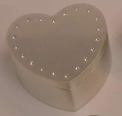 """Personalized 2.5"""" Brushed Heart Box with Crystals"""