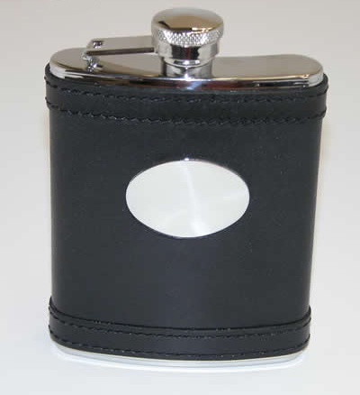 Personalized Black Leather Flask with Engraving Plate