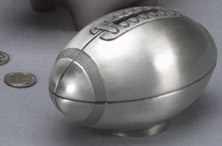Personalized Football Bank with Pewter Finish