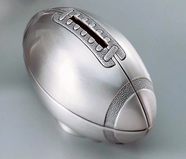 Pewter Finished Football Bank