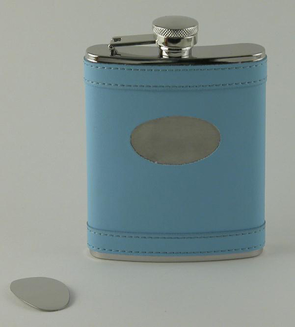 Baby Blue Flask with Engraving Plate