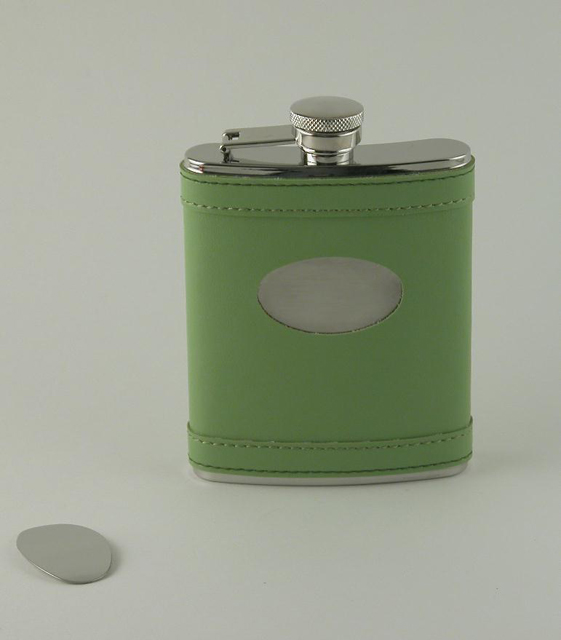 Lime Green Flask with Engraving Plate