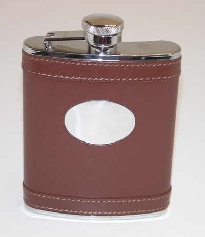 Personalized Brown Leather Flask with Engraving Plate