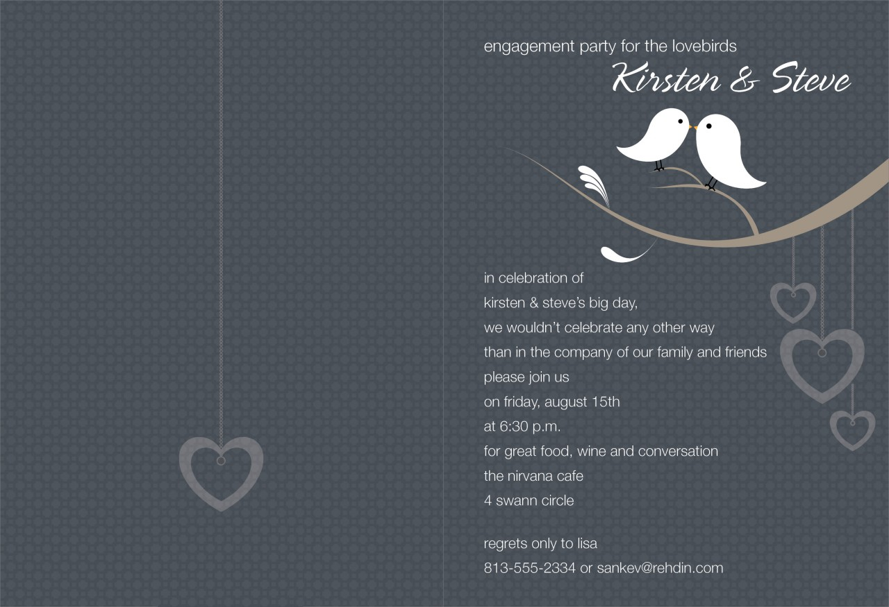 Charcoal and White Love Birds Invitation