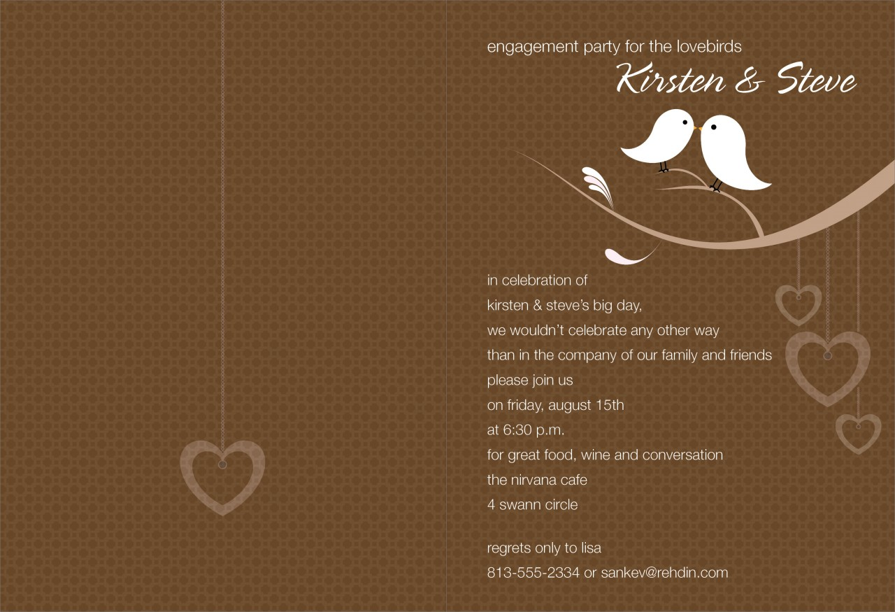 Chocolate and White Love Birds Invitation
