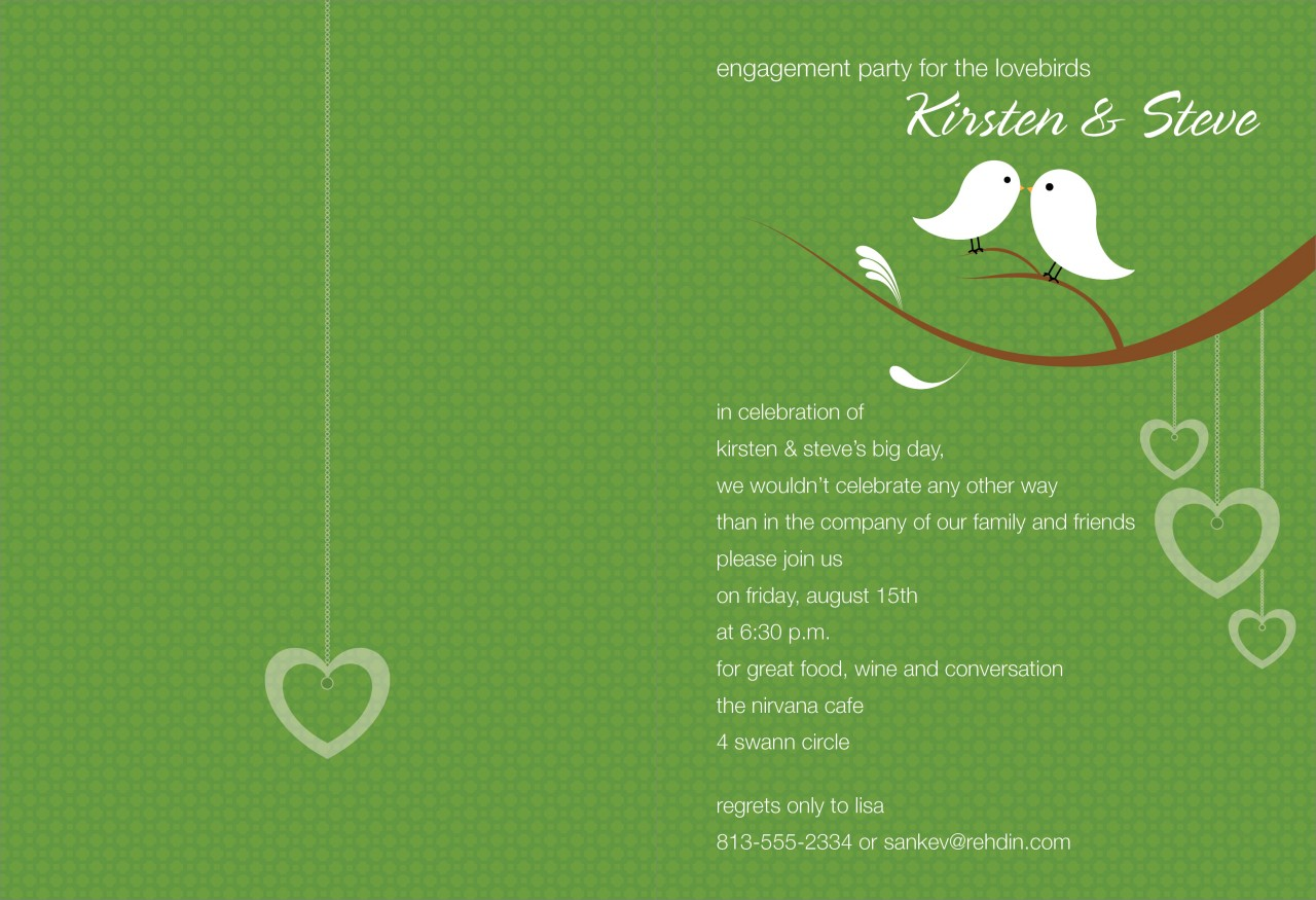 Olive and White Love Birds Invitation