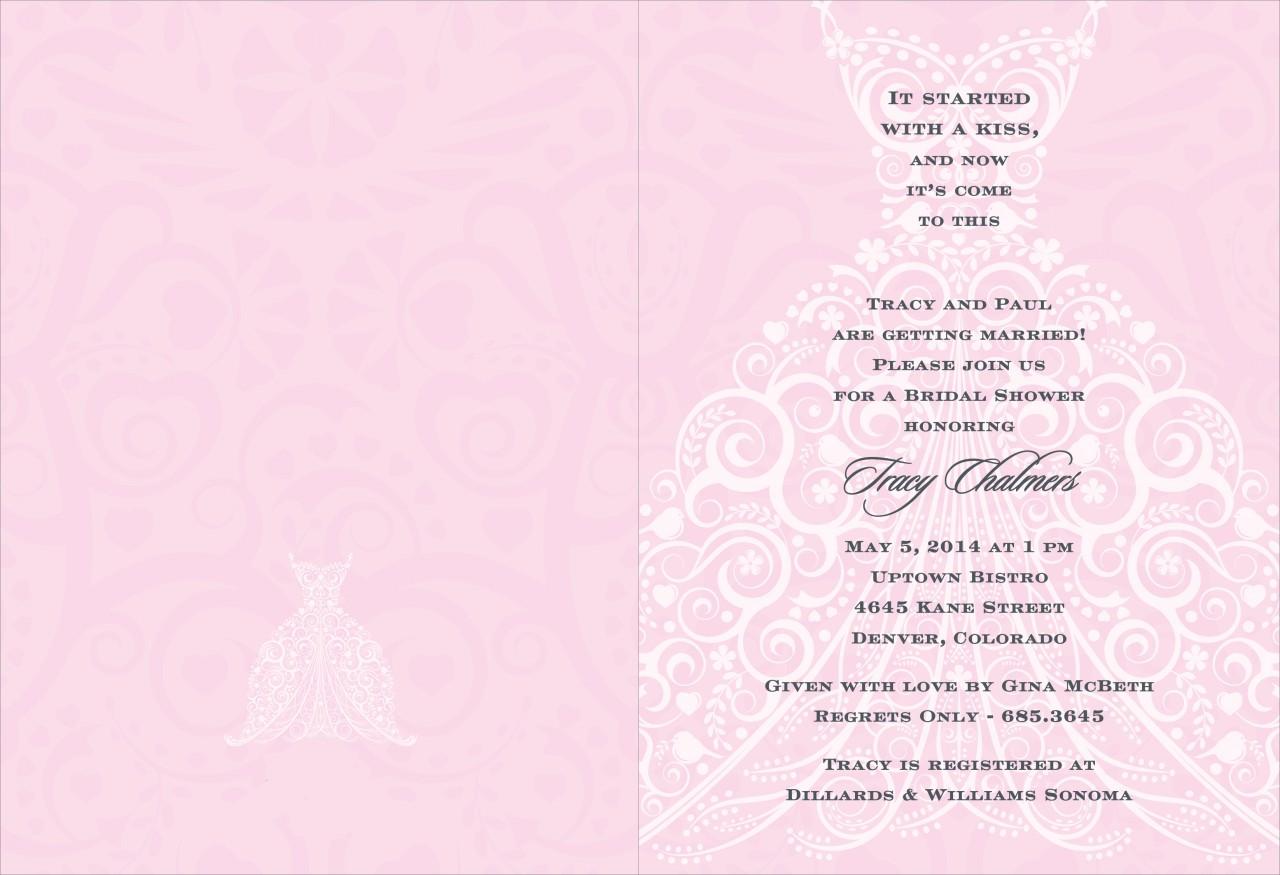 Pink and Charcoal Wedding Dress Invitation