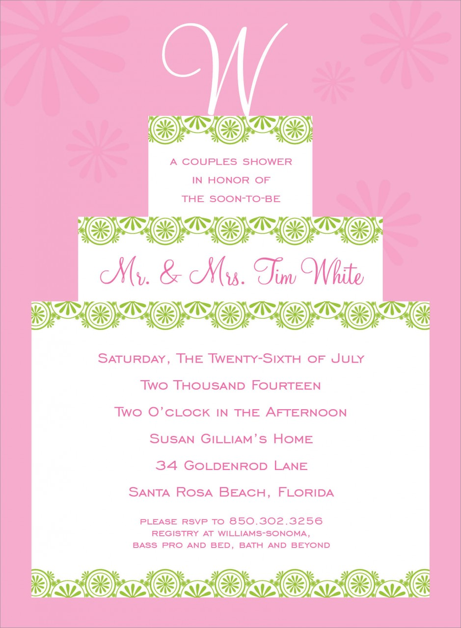 Pink Initial Cake Topper Invitation