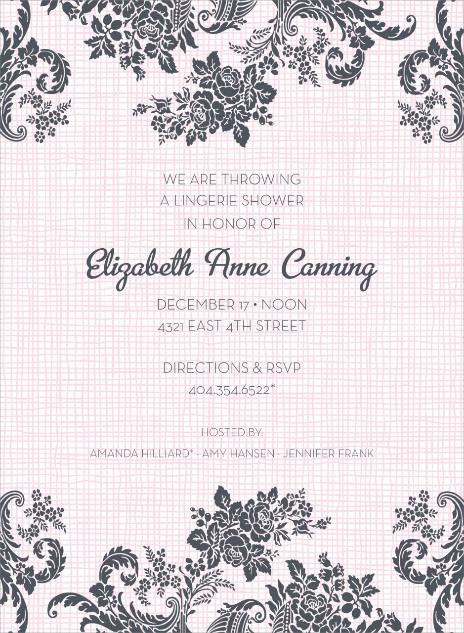 Pink Floral Linen Invitation