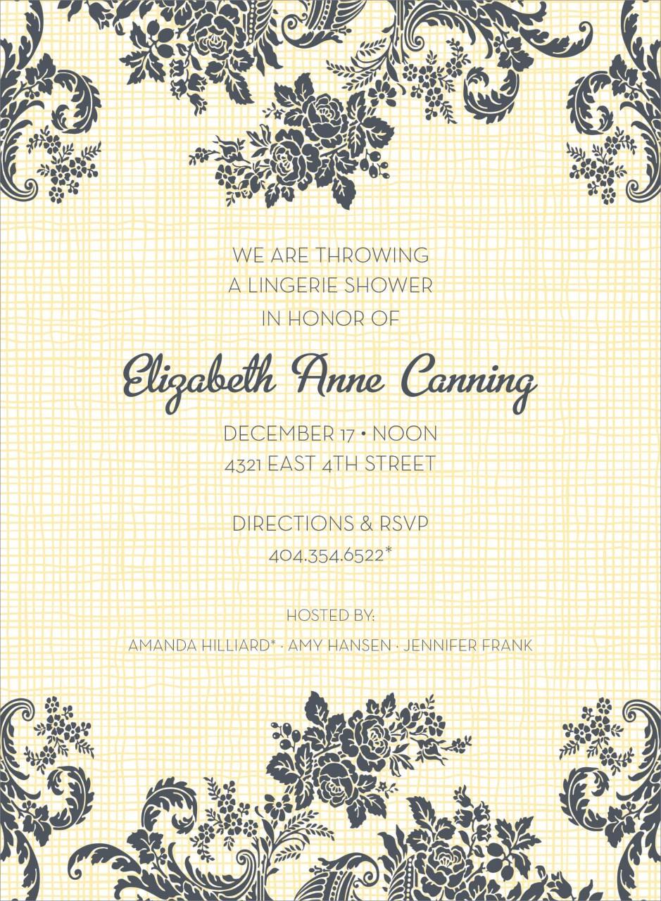 Yellow Floral Linen Invitation