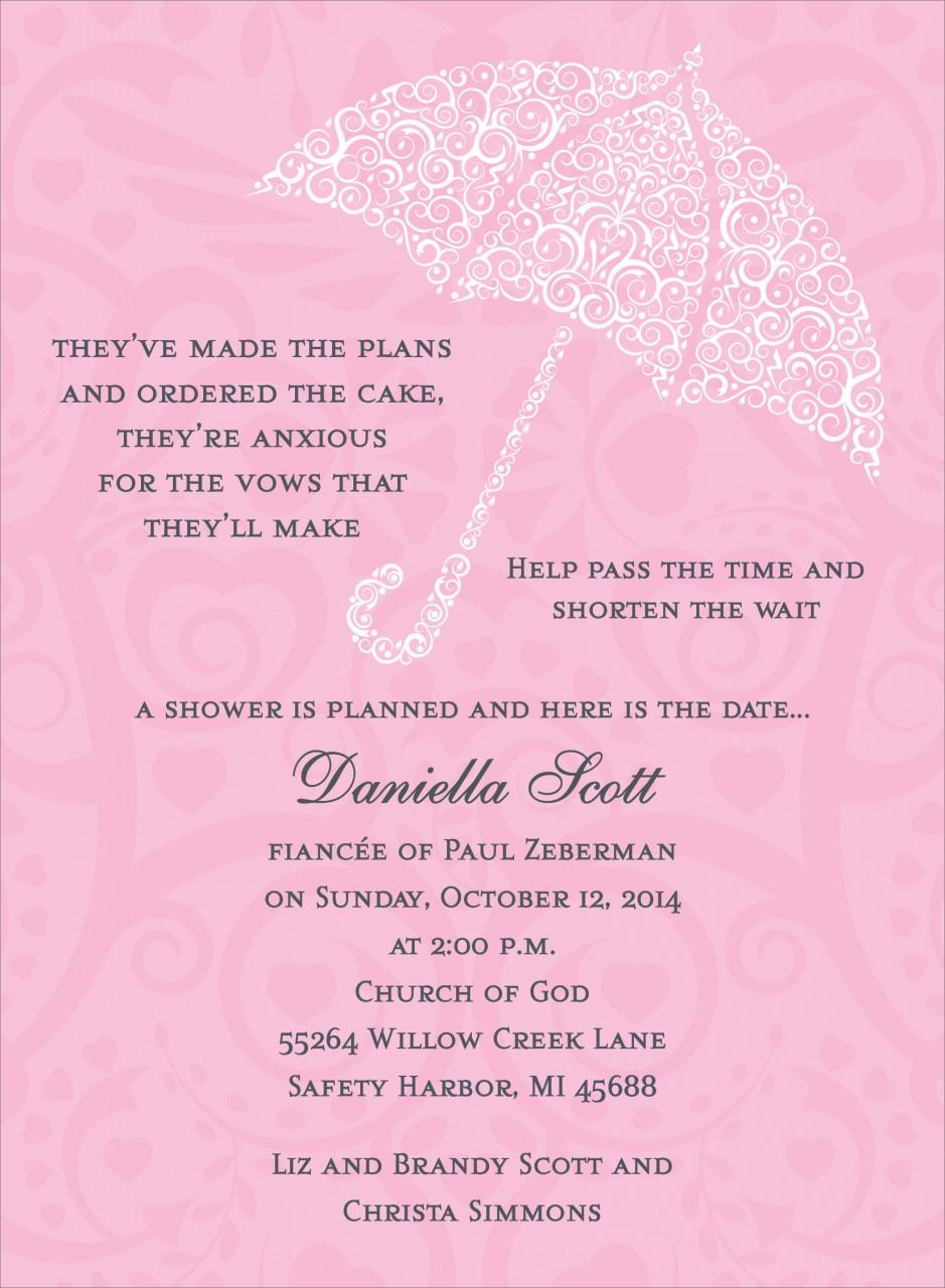 Pink Umbrella Invitation