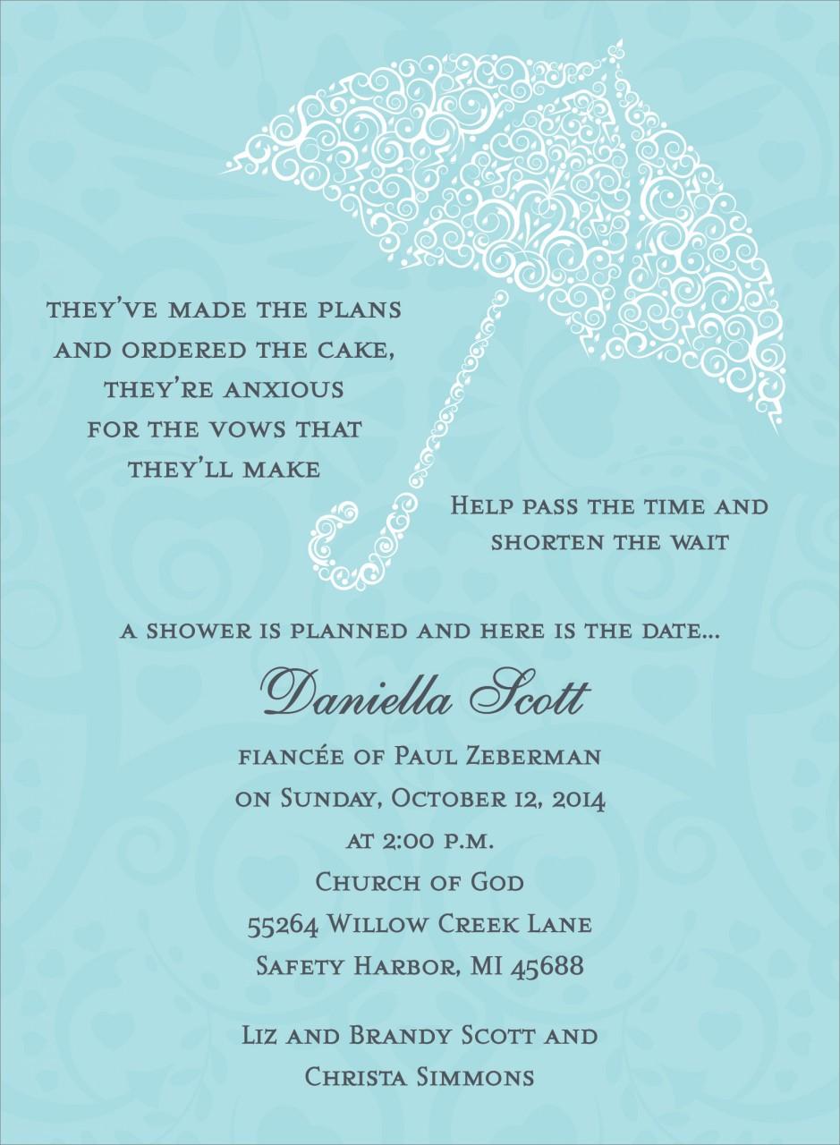 Blue Umbrella Invitation