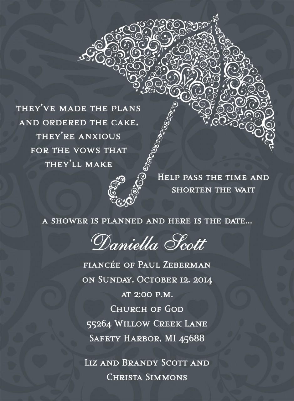 Charcoal Umbrella Invitation