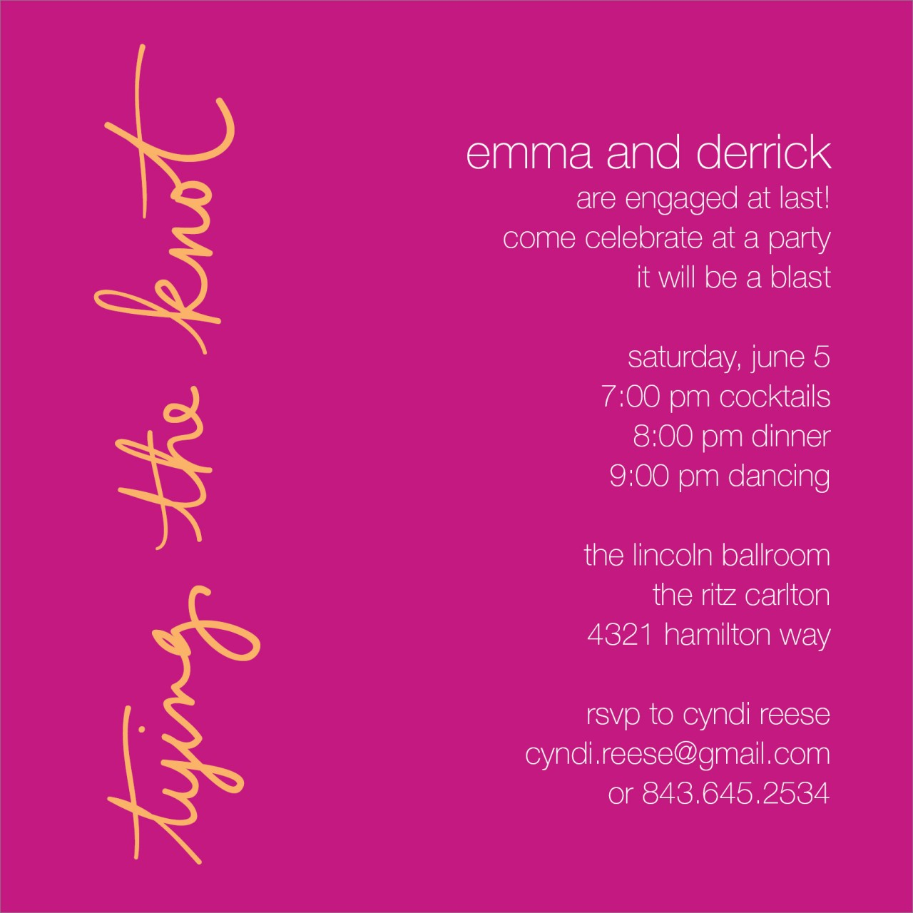 Pink Tying the Knot Invitation