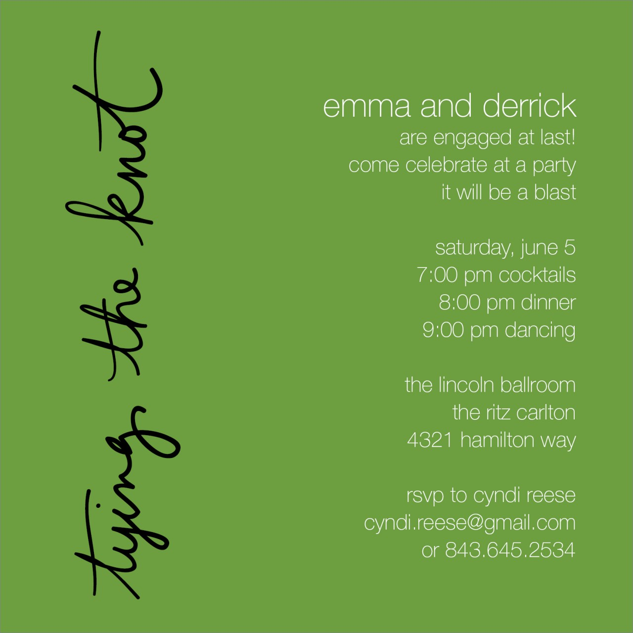 Green Tying the Knot Invitation
