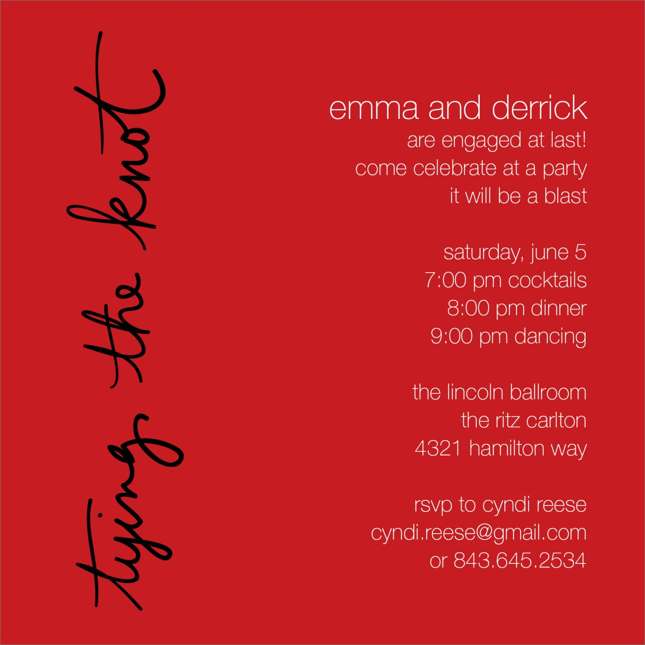 Red Tying the Knot Invitation