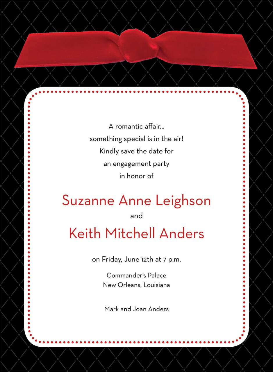 Black Quilted Invitation with Red Ribbon