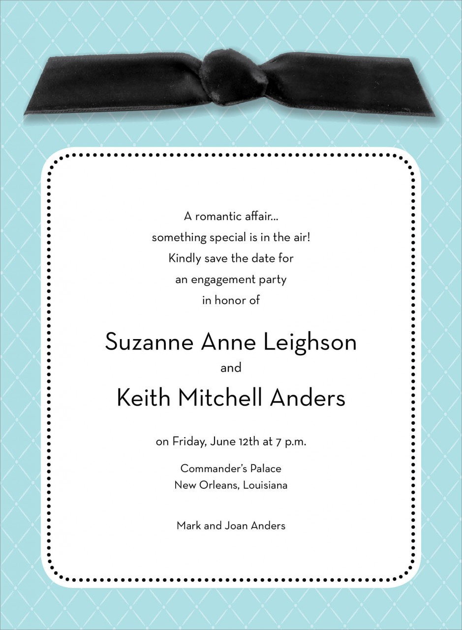 Blue Quilted Invitation with Black Ribbon