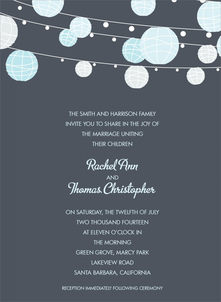 Charcoal and Blue Paper Lantern Invitation
