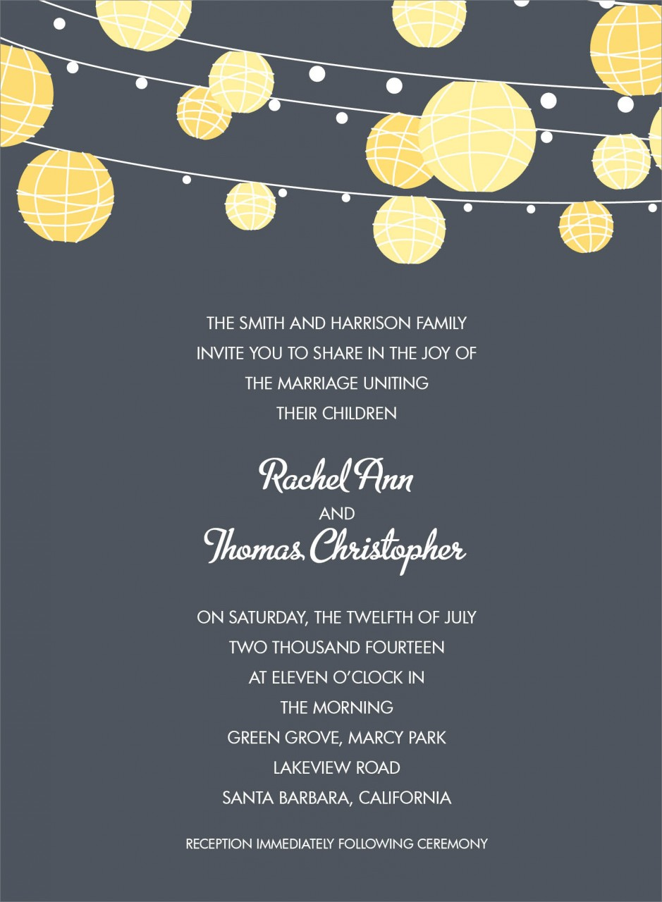 Charcoal and Yellow Paper Lantern Invitation