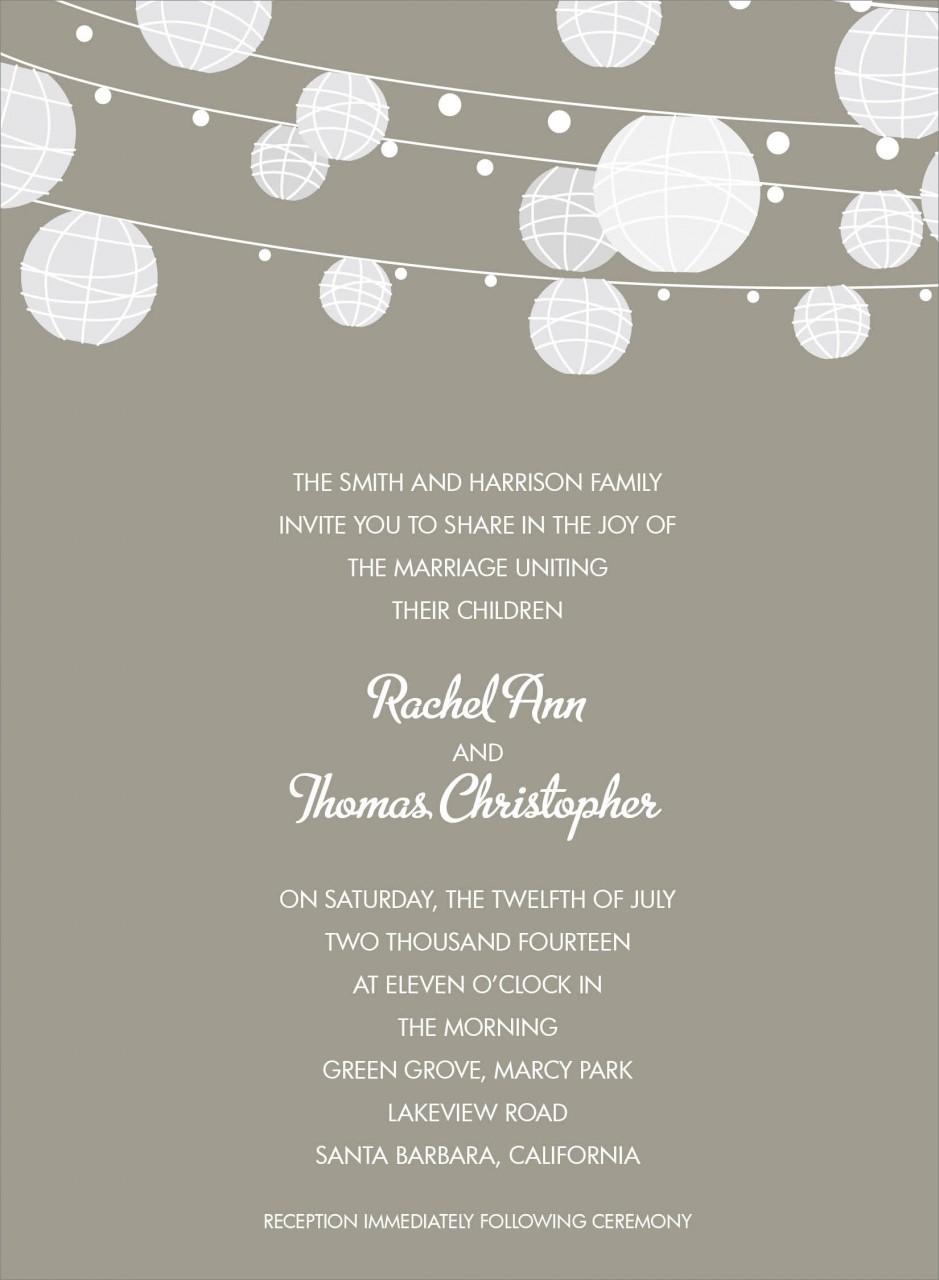 Grey and White Paper Lantern Invitation