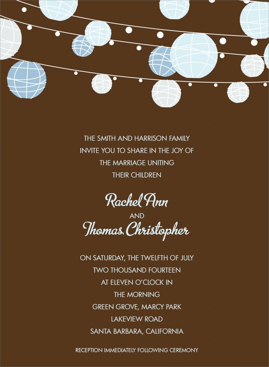 Chocolate and Blue Paper Lantern Invitation