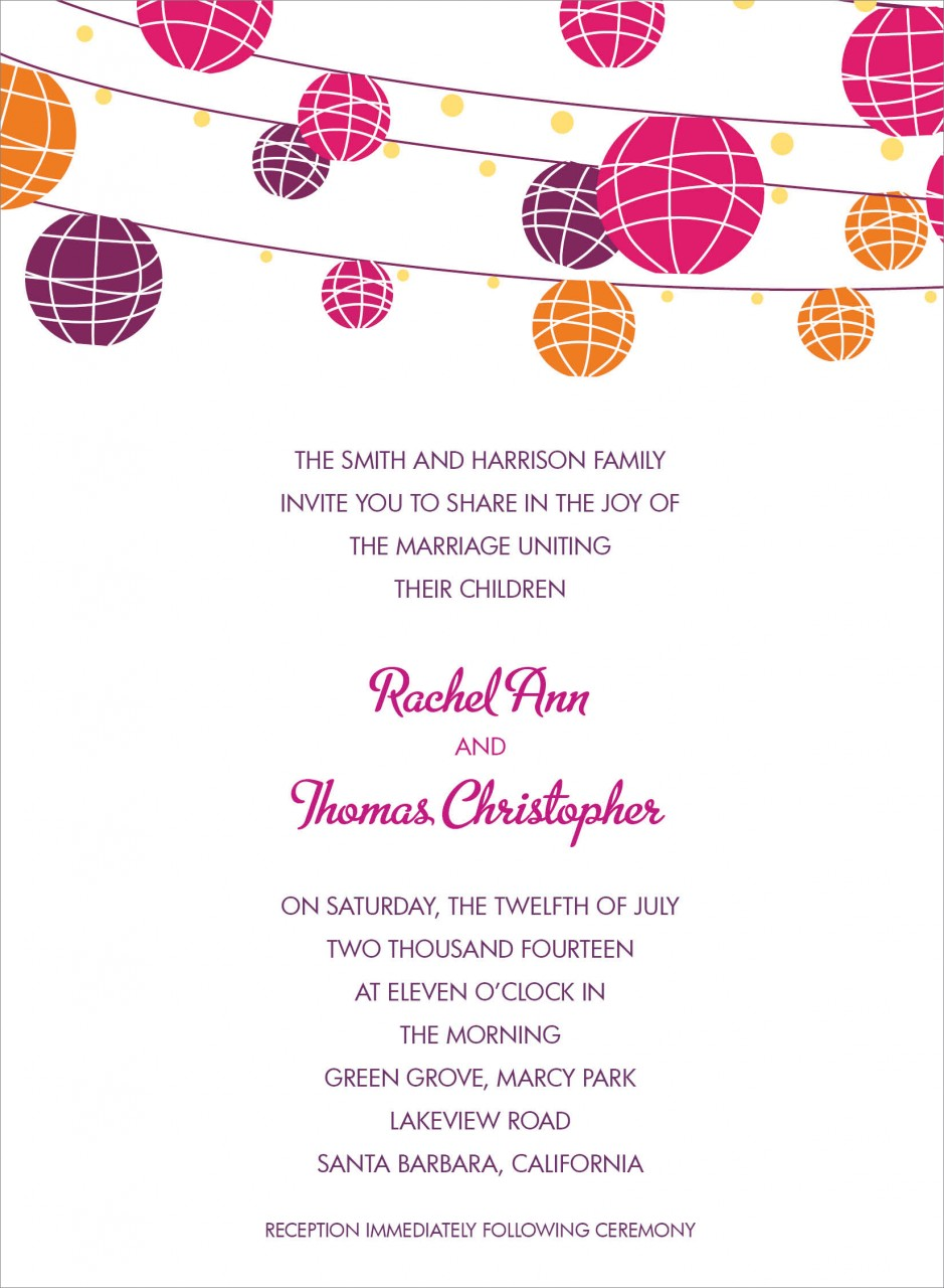 White and Pink, Purple, Orange Paper Lantern Invitation