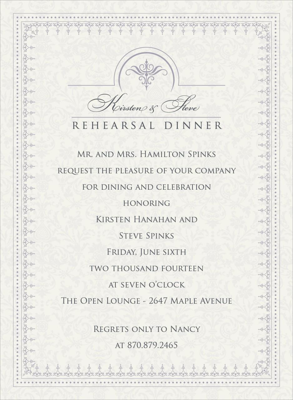 Pale Lavender and Charcoal Jacquard Invitation