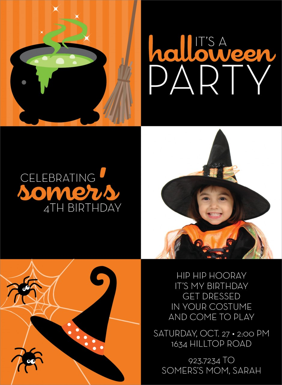 3 Square Hat and Cauldron Halloween Photo Card